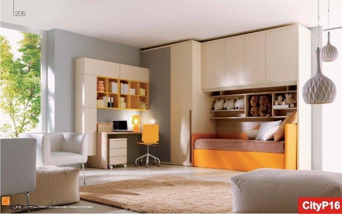 camera con cabina armadio e letto imbottito