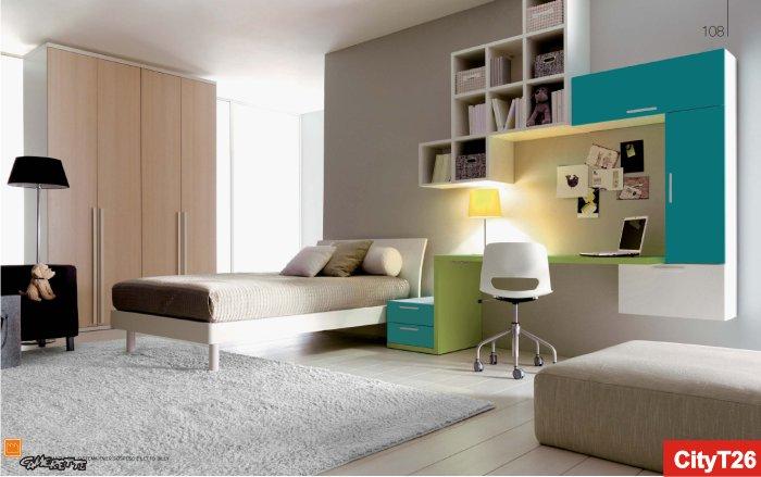 camere singole moderne verdi : Cameretta Doimo per ragazzi verde e ottanio
